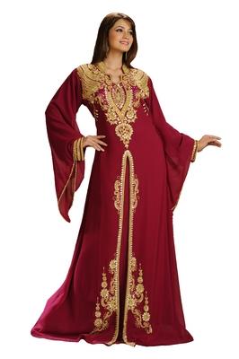Maroon Georgette Embroidered Zari Work Islamic Kaftan