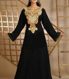 Black Georgette Embroidered Zari Work Farasha