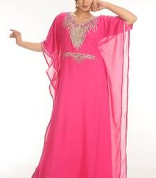 Pink Georgette Embroidered Zari Work Farasha
