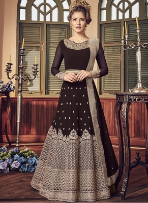Coffee Embroidered Georgette Salwar With Dupatta