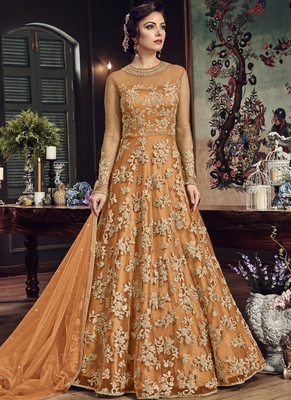 Orange embroidered net salwar with dupatta
