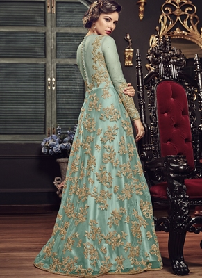 Sea Green  Embroidered Net Anarkali  With Dupatta