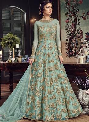 Sky-blue embroidered net salwar with dupatta