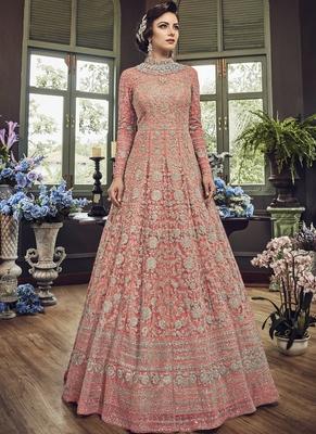 Dark-Pink Embroidered Net Salwar With Dupatta