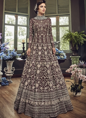 Coffee embroidered net salwar with dupatta