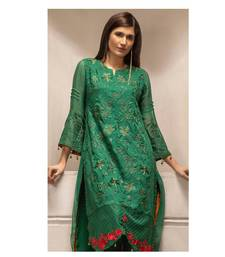 Dark green chiffon embroidered pakistani kurti pakistani-kurtis