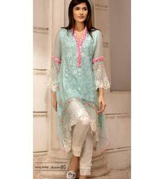 Sky blue chiffon embroidered pakistani kurti pakistani-kurtis