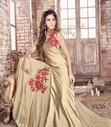 Beige embroidered bhagalpuri silk salwar with dupatta