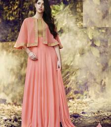 Peach embroidered georgette salwar with dupatta