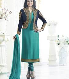 Buy Blue embroidered georgette salwar with dupatta abaya-suit online
