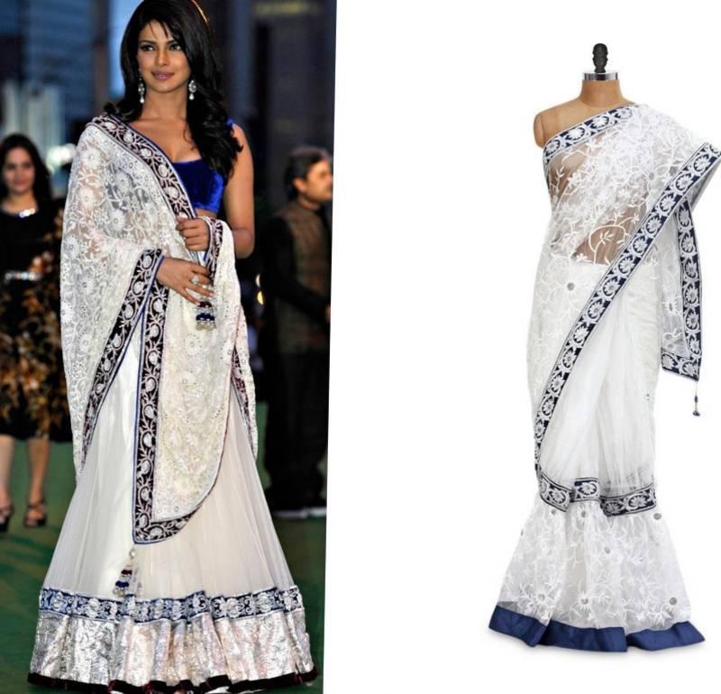 04d20118fa white color embroidery work net fabric bollywood style lehenga saree ...