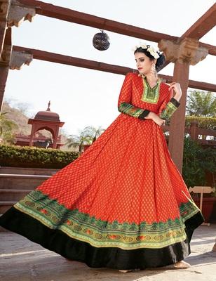 Orange embroidered silk salwar with dupatta