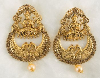 GODDESS LAXMI DANGLER EARRINGS pearl drop, TEMPLE JEWELLERY