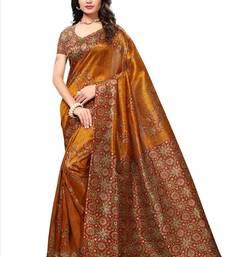 Gold printed bhagalpuri saree with blouse bhagalpuri-silk-saree