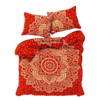 Mandala Gold Printed Comforter Cover Double Bedding Throw Indian Duvet Cover & Pillow Case Bohemian Throw