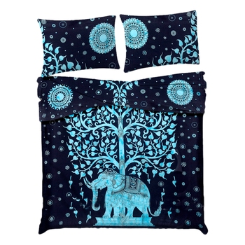 Tree of Life Elephant Comforter Quilt Cover Double Bedding Throw Indian Duvet Cover & Pillow Case Bohemian Throw