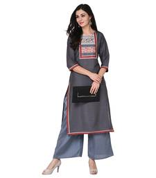 Grey color Straight Digital Print Kurta Palazzo Set