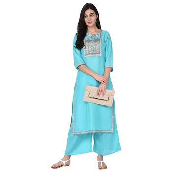 Summer Blue color Straight Digital Print Kurta Palazzo Set