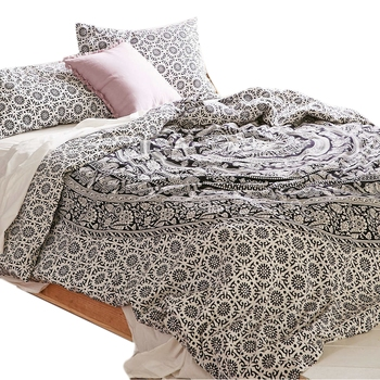 Black & White Mandala Comforter Cover Double Bedding Throw Indian Duvet Cover & Pillow Case Bohemian Throw