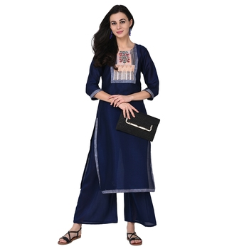Navy Blue color Straight Digital Print Kurta Palazzo Set