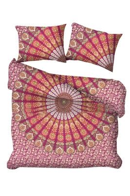 Indian Mandala Duvet Cover Hippie Bohemian Cotton Handmade Reversible Bedding Blanket Set Pillow Case