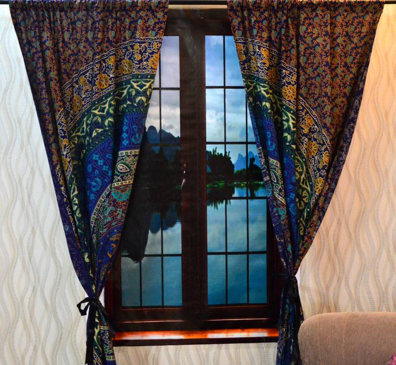 Indian mandala bedroom curtains, tapestry drapes, window ...