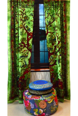 Indian tree of life curtain cotton tapestry door curtain window bohemian valance
