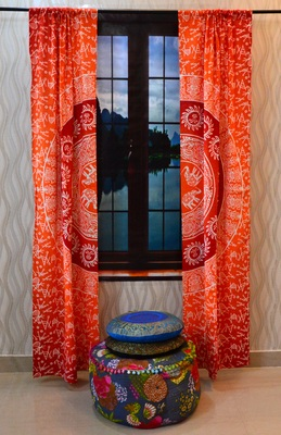 Mandala curtain tulle voile indian door window drape panel sheer scarf valances