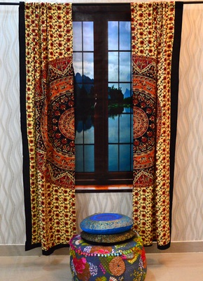 Indian mandala curtains drapes wall decor curtain valances cotton tapestry throw