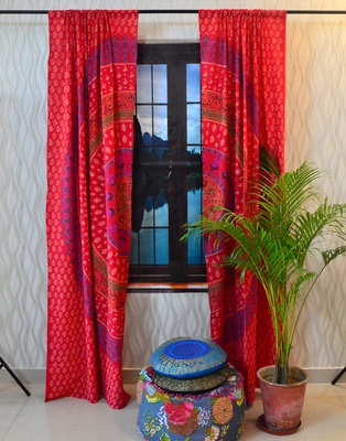 Indian door curtain hand printed mandala cotton tapestry decor window curtains