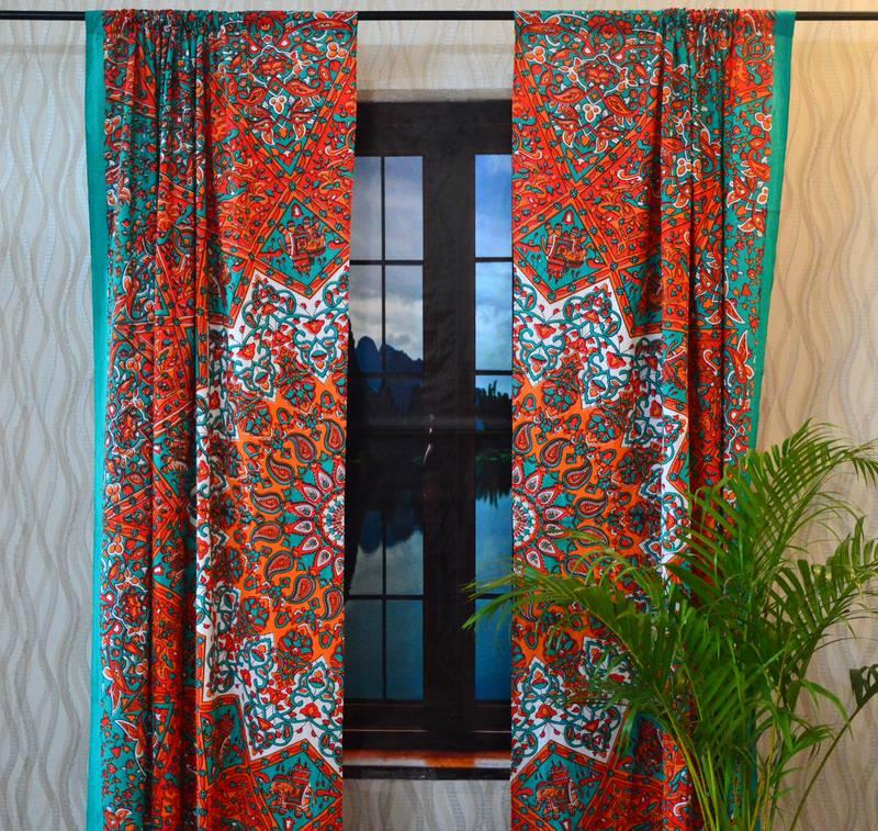 Indian mandala curtain panel elephant living room tab top ...