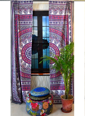 Indian paisley curtains wall tapestry boho decorative window curtain tapestries