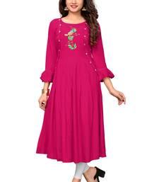 Pink woven rayon kurti