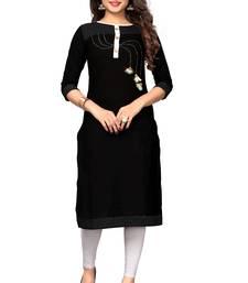 Black woven cotton kurti