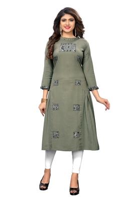 Grey woven cotton kurti