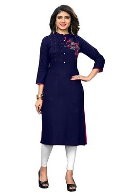 Blue woven rayon kurti