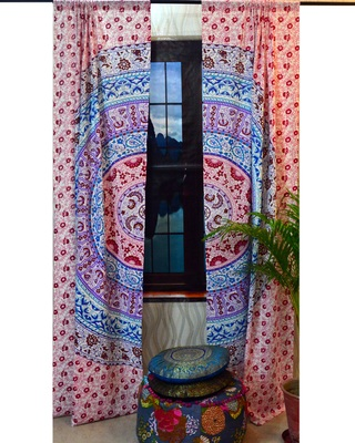 Indian window curtain ombre mandala tulle voile drape panel sheer scarf valances