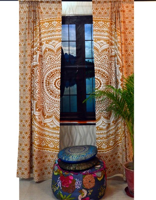 Indian window curtain ombre mandala tapestries window cover home decor curtains