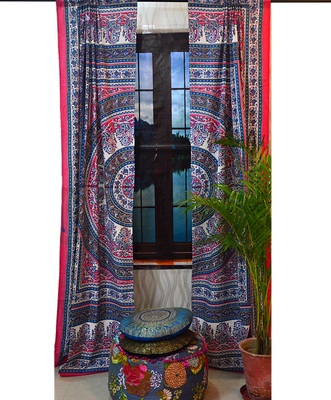 Mandala paisley curtains door window curtain drape panel sheer scarf valances