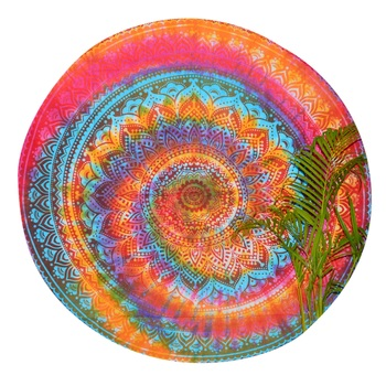 Indian Ombre Tie Dye Mandala Roundie Beach Indian Tapestry Cotton Table Covers Yoga Mat Bohemian Spread Cover