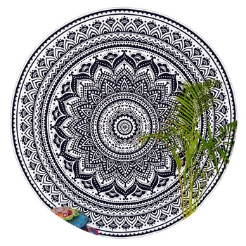 Black & White Mandala Round Ombre Tapestry Hippy Gypsy Cotton Table Covers Hippie Boho Yoga Mat Bohemian Spread Cover