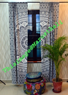 Ombre mandala indian curtain hippie wall hanging door window large curtains 2 pc