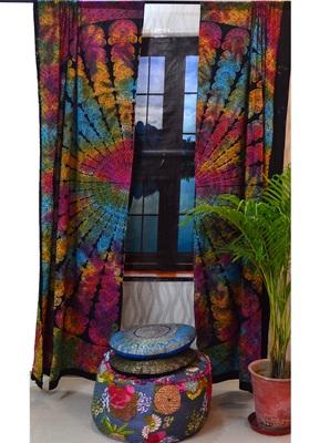Indian mandala door window curtain drape panel sheer scarf valances divider boho