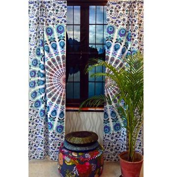 Mandala curtain tulle voile moroccan curtains drape panel sheer scarf valances