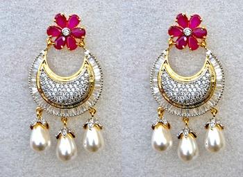 Ruby Diamond Chand Bali Earrings