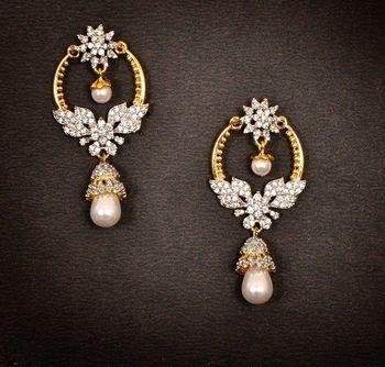 Gold Diamond Chand Bali Earrings Orne Jewels 380240
