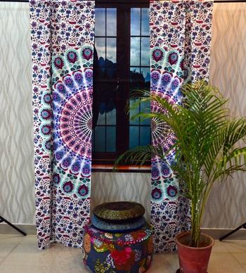 Indian curtains throw mandala tapestry window drape panel sheer scarf valances