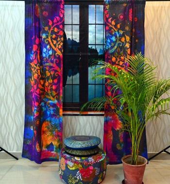 Indian tie dye curtains mandala tapestry window drape panel sheer scarf valances
