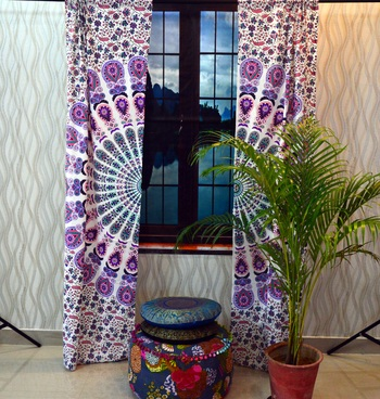 Mandala curtain panel set indian floral living bed room window art drapes decor