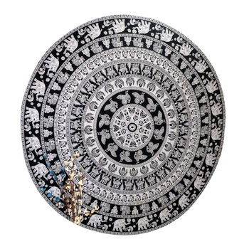 Mandala Roundie Beach Indian Tapestry Hippy Gypsy Cotton Black And white Table Covers Hippie Boho Yoga Mat Bohemian